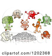Plate Of Spaghetti Noodles With Ingredient Characters