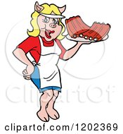 Cartoon Of A Happy Pig Waitress Serving Bbq Ribs Royalty Free Vector Clipart
