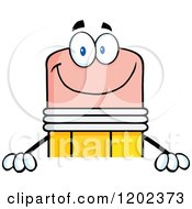 Cartoon Of A Happy Pencil Mascot Over A Sign Royalty Free Vector Clipart