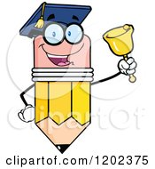 Cartoon Of A Graduate Pencil Teacher Mascot Ringing A Bell Royalty Free Vector Clipart by Hit Toon