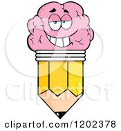Cartoon Of A Happy Brain Pencil Mascot Royalty Free Vector Clipart by Hit Toon