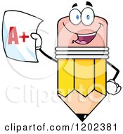 Cartoon Of A Pencil Mascot Holding Up A Report Card Royalty Free Vector Clipart