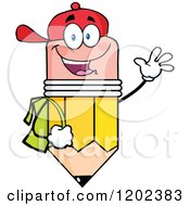 Cartoon Of A Happy Pencil Student Mascot Waving Royalty Free Vector Clipart by Hit Toon