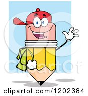 Cartoon Of A Happy Pencil Student Mascot Waving Over Blue Royalty Free Vector Clipart by Hit Toon