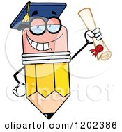 Cartoon Of A Graduate Pencil Mascot Holding A Diploma Royalty Free Vector Clipart by Hit Toon