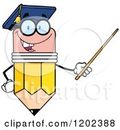 Cartoon Of A Graduate Pencil Teacher Holding A Pointer Stick Royalty Free Vector Clipart by Hit Toon
