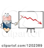 Cartoon Of A Business Pencil Mascot Pointing To A Down Arrow On A Board Royalty Free Vector Clipart
