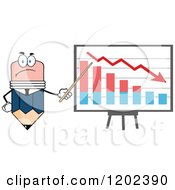 Cartoon Of A Business Pencil Mascot Pointing To A Decrease Chart On A Board Royalty Free Vector Clipart