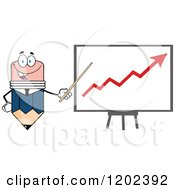Cartoon Of A Business Pencil Mascot Pointing To An Arrow On A Board Royalty Free Vector Clipart