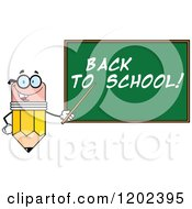 Cartoon Of A Pencil Teacher Mascot Using A Pointer Stick By A Back To School Chalk Board Royalty Free Vector Clipart by Hit Toon