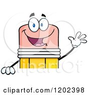 Cartoon Of A Waving Pencil Mascot Over A Sign Royalty Free Vector Clipart