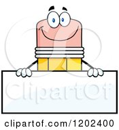 Cartoon Of A Happy Pencil Mascot Over A Sign Board Royalty Free Vector Clipart