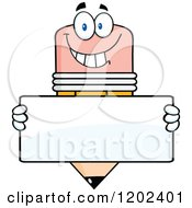 Cartoon Of A Happy Pencil Mascot With A Sign Board Royalty Free Vector Clipart
