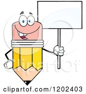 Cartoon Of A Happy Pencil Mascot With A Sign Royalty Free Vector Clipart