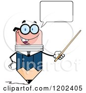 Cartoon Of A Talking Business Pencil Mascot Using A Pointer Stick Royalty Free Vector Clipart