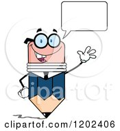 Cartoon Of A Talking Business Pencil Mascot Waving Royalty Free Vector Clipart by Hit Toon