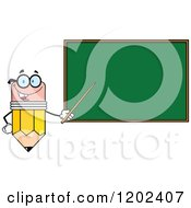 Cartoon Of A Pencil Teacher Mascot Using A Pointer Stick By A Chalk Board Royalty Free Vector Clipart