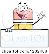 Cartoon Of A Waving Pencil Mascot Over A Sign Royalty Free Vector Clipart by Hit Toon