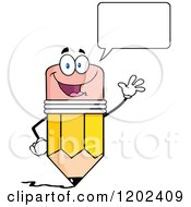 Cartoon Of A Talking And Waving Pencil Mascot Royalty Free Vector Clipart by Hit Toon