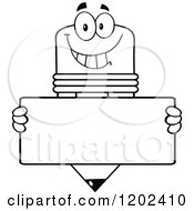 Cartoon Of A Black And White Happy Pencil Mascot With A Sign Board Royalty Free Vector Clipart