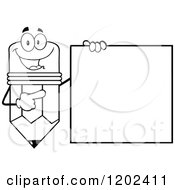 Cartoon Of A Black And White Happy Pencil Mascot Pointing To A Sign Royalty Free Vector Clipart