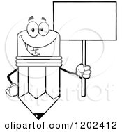Cartoon Of A Black And White Happy Pencil Mascot With A Sign Royalty Free Vector Clipart