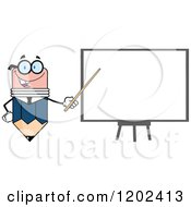 Cartoon Of A Business Pencil Mascot Pointing To A White Board Royalty Free Vector Clipart by Hit Toon
