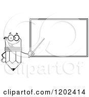 Black And White Outlined Pencil Teacher Mascot Using A Pointer Stick By A Chalk Board