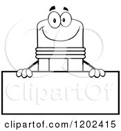 Cartoon Of A Black And White Outlined Happy Pencil Mascot Over A Sign Board Royalty Free Vector Clipart