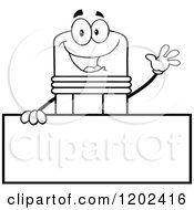 Cartoon Of A Black And White Outlined Waving Pencil Mascot Over A Sign Royalty Free Vector Clipart