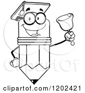 Cartoon Of A Black And White Graduate Pencil Teacher Mascot Ringing A Bell Royalty Free Vector Clipart