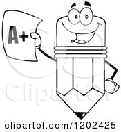 Cartoon Of A Black And White Pencil Mascot Holding Up A Report Card Royalty Free Vector Clipart