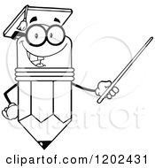 Black And White Graduate Pencil Teacher Holding A Pointer Stick