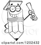 Cartoon Of A Black And White Graduate Pencil Mascot Holding A Diploma Royalty Free Vector Clipart