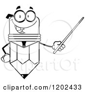 Cartoon Of A Black And White Business Pencil Mascot Using A Pointer Stick Royalty Free Vector Clipart