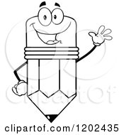 Cartoon Of A Black And White Outlined Waving Pencil Mascot Royalty Free Vector Clipart