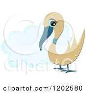Cartoon Of A Cute Blue Gooney Bird Over A Cloud Royalty Free Vector Clipart