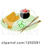 Cartoon Of A Pair Of Chopsticks Eggrolls Cucumbers And Sauce Royalty Free Vector Clipart