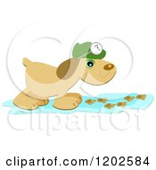 Cartoon Of A Detective Dog Following Paw Print Tracks Royalty Free Vector Clipart