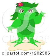 Female Frog Standing Upright And Waving