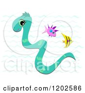 Cartoon Of A Cute Sea Snake Swimming With Fish Royalty Free Vector Clipart by bpearth