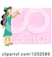 Happy Girl Holding A Butterfly Over Pink Text Space