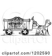 Clipart Of A Carnival Carriage Full Of Scared Children Black And White Woodcut Royalty Free Vector Illustration by xunantunich