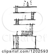 Clipart Of A Winner At The Top Of Levels With Ladders Black And White Woodcut Royalty Free Vector Illustration