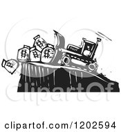 Clipart Of A Bulldozer Pushing Money Bags Off Of A Cliff Black And White Woodcut Royalty Free Vector Illustration by xunantunich