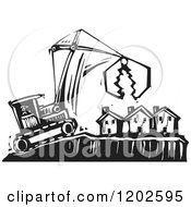 Clipart Of A Bulldozer And Crane Over Foreclosed Houses Black And White Woodcut Royalty Free Vector Illustration