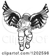 Clipart Of An Angel Astronaut Black And White Woodcut Royalty Free Vector Illustration