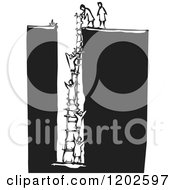 People Climbing A Ladder From A Hole Black And White Woodcut