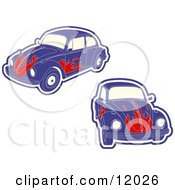 Purple VW Bug Car With Flames Clipart Illustration