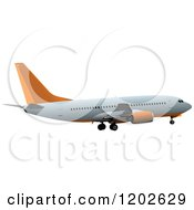 Commercial Airplane With Orange Accents